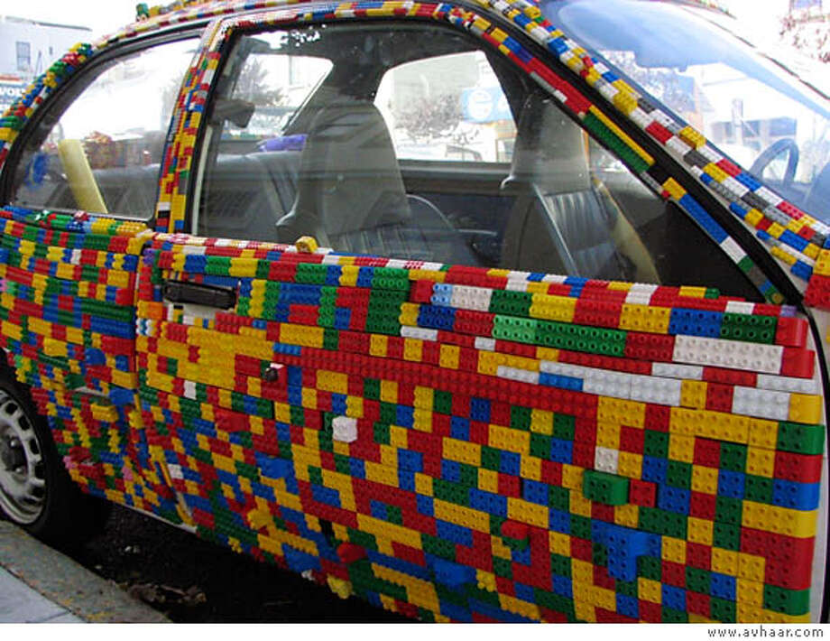 Naomi Rifkin�s Lego-covered art car has plenty of charm but little room to carry home furnishings. Photo courtesy of www.avhaar.com