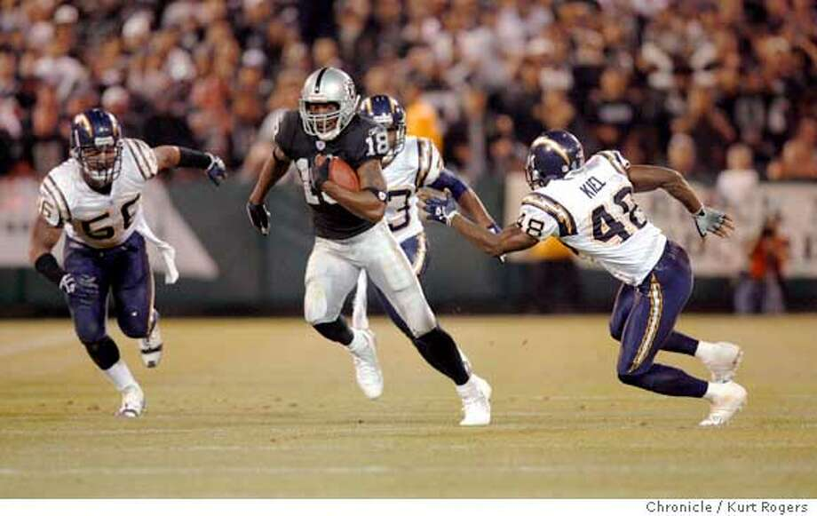 raiders12_026_kr.JPG  Raider #18 Randy Moss runs for yardage after a catch in the 3rd quarter. He is being chased by charger #56 Shawne Merriman and #48 Terrence Kiel.  Oakland Raiders play the San Diego Chargers at McAfee Coliseum on Sept. 11, 2006.  Kurt Rogers /The Chronicle Ran on: 09-12-2006  Randy Moss broke loose for one 20-yard gain on a pass from Aaron Brooks, then gave 15 yards back on a taunting penalty.  Ran on: 09-12-2006  Randy Moss broke loose for one 20-yard gain on a pass from Aaron Brooks, then gave 15 yards back on a taunting penalty. Photo: Kurt Rogers