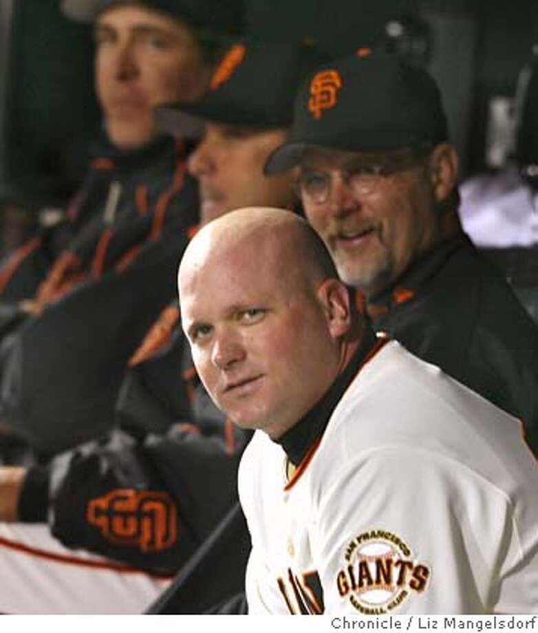 giants085_lm.JPG Event on 5/9/06 in San Francisco.  Todd Greene watches from the dugout during the game.  Giants play the Astros at ATT Park.  Liz Mangelsdorf /San Francisco Chronicle MANDATORY CREDIT FOR PHOTOG AND SF CHRONICLE/ -MAGS OUT Photo: Liz Mangelsdorf