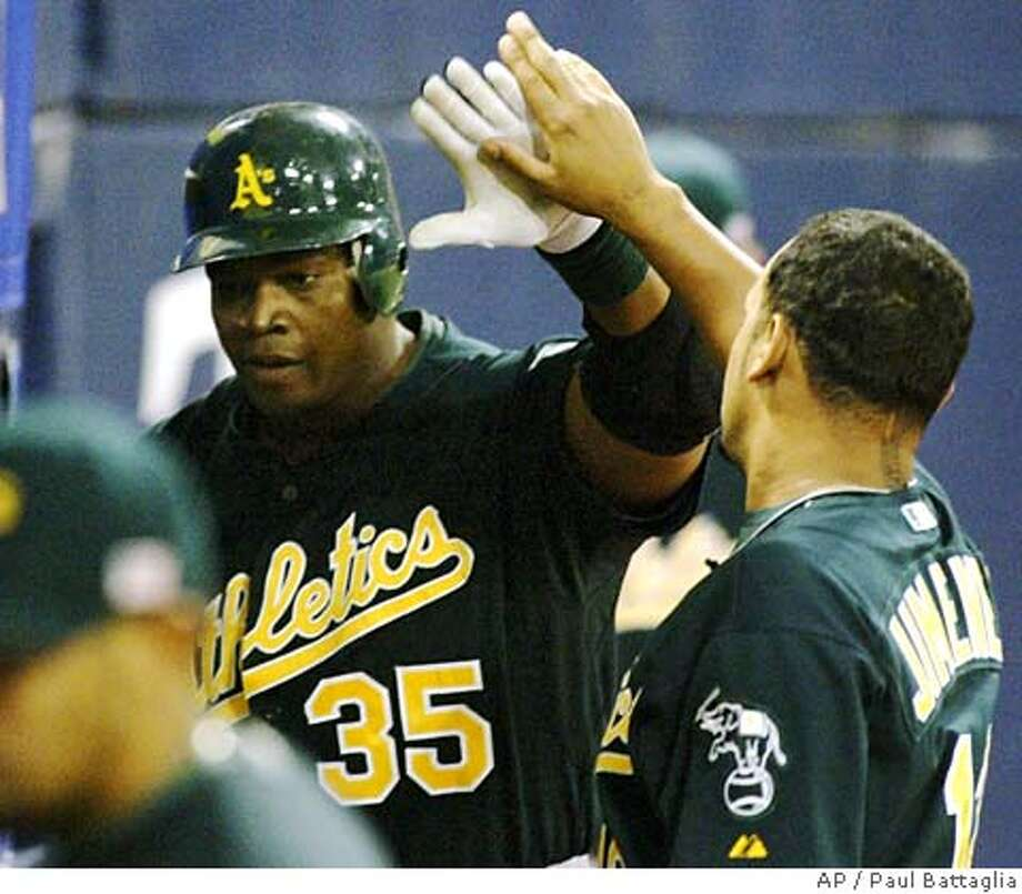 Oakland Athletics' Frank Thomas (35) is congratulated by teammate D' Angelo Jimenez (12) after he hit a solo home run off Minnesota Twins' starting pitcher Carlos Silva during the fourth inning in a baseball game, Monday, Sept. 11, 2006, in Minneapolis. (AP Photo/Paul Battaglia) Photo: PAUL BATTAGLIA