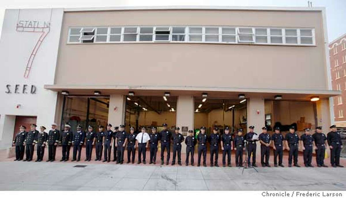 The San Francisco Fire Dept. held a commemoration to honor fallen firefighters FDNY killed in 9/11 at Station 7 at 19th and Folsom St., SF. City wide at all 42 stations, beginning at 6:45 a.m. and ending at 7:02 a.m the fallen will be honored. 9/11/06 {Frederic Larson/The Chronicle }