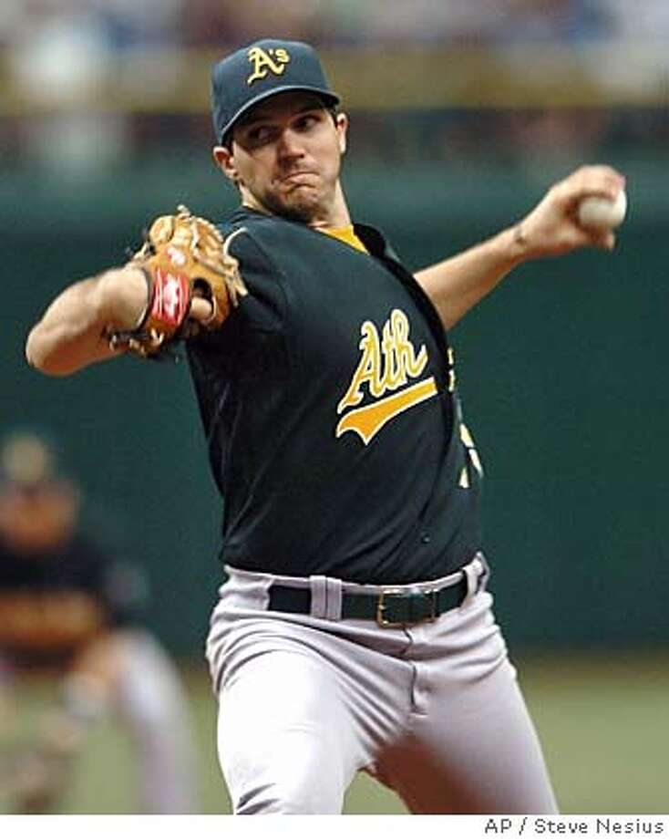Oakland Athletics starter Barry Zito pitches against the Tampa Bay Devil Rays during the second inning of a baseball game Sunday, Sept. 10, 2006, in St. Petersburg, Fla. (AP Photo/Steve Nesius) Photo: STEVE NESIUS
