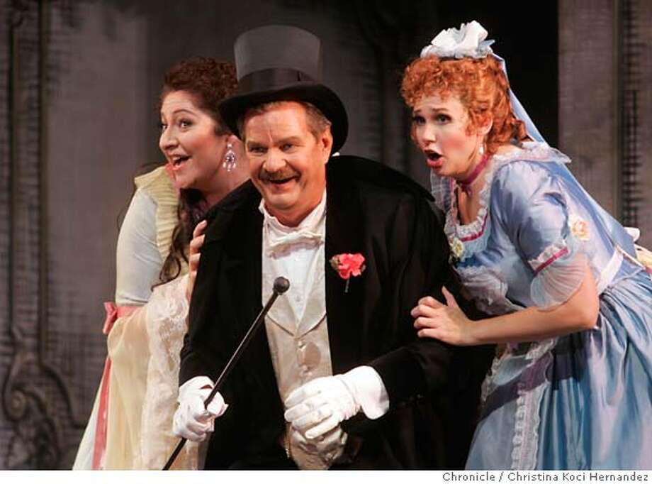 "(From L to R)In first act, Christine Goerke, as ""Rosalinde"" , Wolfgang Brendel as ""Gabriel von Einstein"" and Jennifer Welch-Babidge, as ""Adele"".  SF Opera does Johann Strauss' comedy ""Die Fledermaus,"" and we need shot from final dress rehearsal to run with review. (CHRISTINA KOCI HERNANDEZ/THE CHRONICLE) Mandatory Credit For Photographer and San Francisco Chronicle/No-Sales-Mags Out Photo: Christina Koci Hernandez"