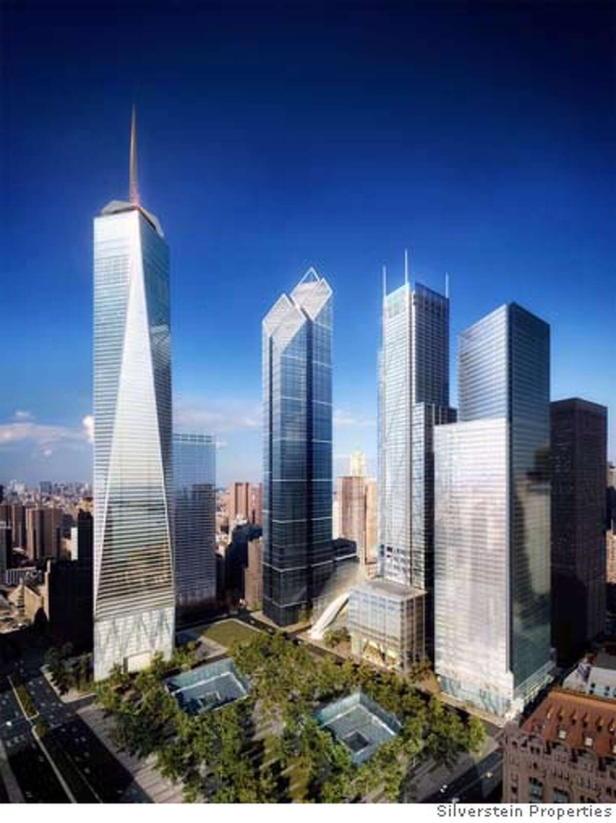 (NYT6) UNDATED -- Sept. 7, 2006 -- WTC-TOWERS-2 -- The developer of the new World Trade Center unveiled Thursday, Sept. 7, 2006, the design for three skyscrapers at ground zero, which in their gargantuan scale would reshape the New York skyline. The Freedom Tower is to the left of Towers 2, 3 and 4. The original footprint of the World Trade Center is at bottom. (Silverstein Properties via The New York Times) - EDITORIAL USE ONLY Ran on: 09-08-2006 Artist Mary Perillo lives in the closest apartment building to ground zero; it took almost 18 months of repairs to get the apartment back to normal.
