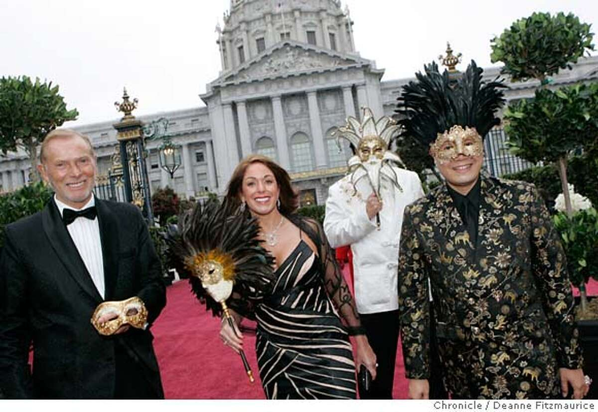 opera_0058_df.jpg Arriving for the party before the Opera are: at right fashion designer Max Nugus who designed the outfits and masks for himself and his three friends, starting from left, George Sanbrook, Mary Sanbrook and Rafe Guerra. Opening of the San Francisco Opera season. Photographed in San Francisco on 9/8/06. (Deanne Fitzmaurice/ The Chronicle) Mandatory credit for photographer and San Francisco Chronicle. /Magazines out.