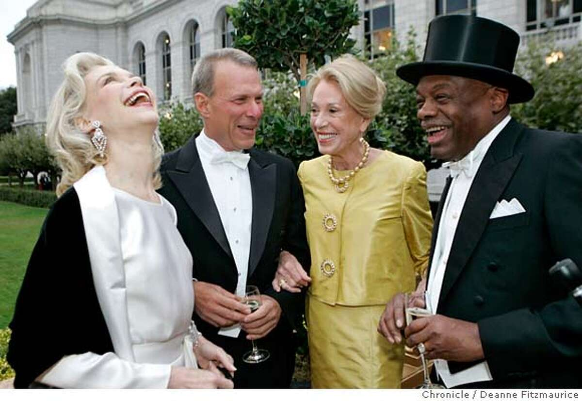 opera_0008_df.jpg A quartet of opera-goers joke about their Texas roots. (l to r) Lynn Wyatt, Vice Chairman of the Houston Grand Opera, David Gockley, General Director of the San Francisco Opera, San Francisco Protocol Chief Charlotte Shultz, and former mayor Willie Brown arrive for the party before the Opera. Opening of the San Francisco Opera season. Photographed in San Francisco on 9/8/06. (Deanne Fitzmaurice/ The Chronicle) Mandatory credit for photographer and San Francisco Chronicle. /Magazines out.