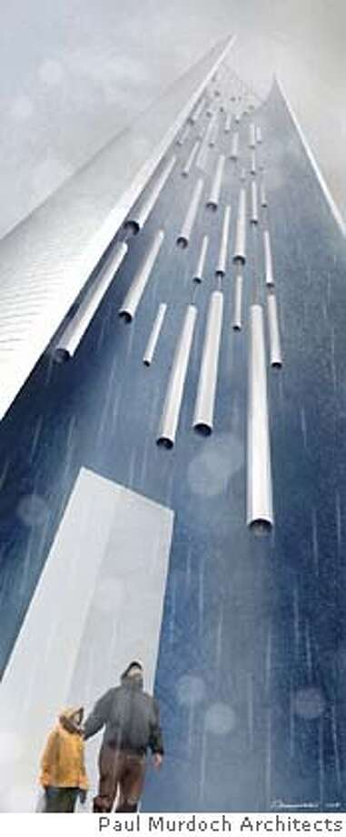 """This artist's rendering, titled """"Tower of Voices,"""" released Wednesday, Nov. 30, 2005, by The Partner Organization for The Flight 93 Memorial, is part of a new design for a Flight 93 memorial to be built on the site of the Sept. 11, 2001, crash near Shanksville, Pa. Designers of the memorial have made a bowl-shaped piece of land its centerpiece, replacing a crescent-shape design that some critics had said was a symbol honoring terrorists, officials announced Wednesday. (AP Photo/Paul Murdoch Architects, Aleksander Novak-Zemplinski) ** ** Ran on: 12-01-2005  The new design for the Flight 93 memorial still features a tower with 40 wind chimes welcoming visitors to the site. ARTIST'S RENDERING PROVIDED BY THE PARTNER ORGANIZATION FOR THE FLIGHT 93 MEMORIAL; Photo: ALEKSANDER NOVAK-ZEMPLINSKI"""