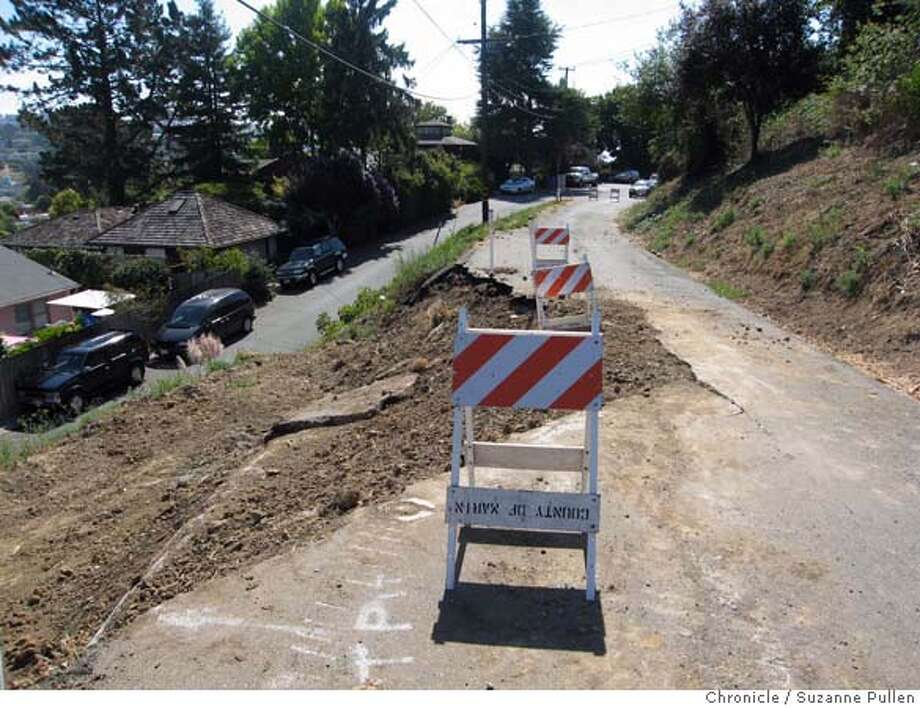 {object name}  A collapsed section of Richardson Drive forced the road to be closed since the winter storms and while the city waits for federal fund for repair. Mandatory credit for photographers and San Francsico Chronicle/ -mags out Photo: Suzanne Pullen