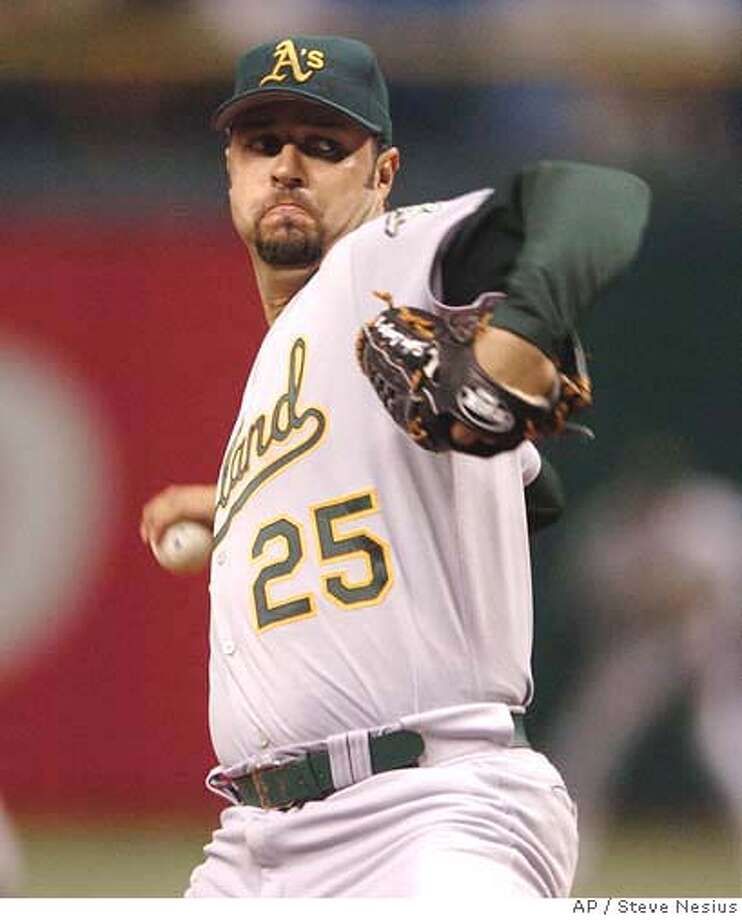 Oakland Athletics starter Esteban Loaiza pitches against the Tampa Bay Devil Rays during the second inning of a baseball game Saturday, Sept. 9, 2006, in St. Petersburg, Fla. (AP Photo/Steve Nesius) EFE OUT Photo: STEVE NESIUS