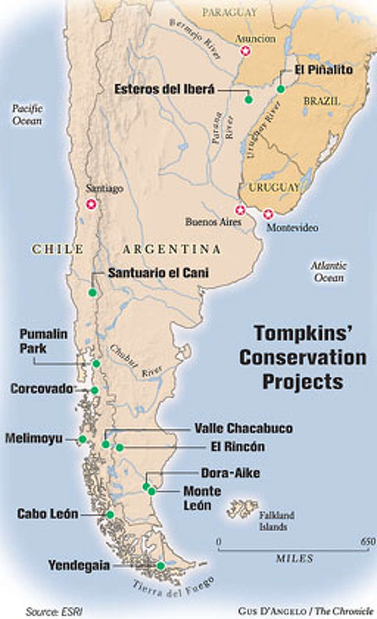 Tompkins' Conservation Projects. Chronicle graphic by Gus D'Angelo