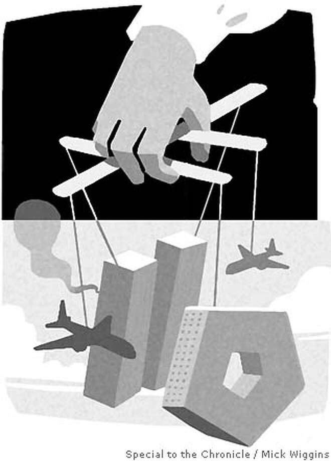 9/11 Conspiracies. Illustration by Mick Wiggins, special to the Chronicle