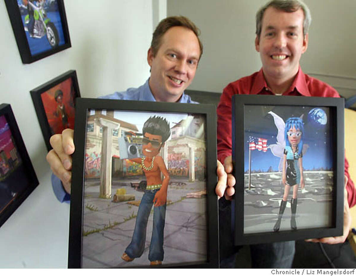 meez__035_lm.JPG Sean Ryan, Meez's CEO, right, and Director of Marketing, Michael Lehman, left, hold up pictures of characters from their website. Photographed in their office in San Francisco on Aug. 28, 2006. Meez.com is an avatar site that launched recently and is popular with the 18-30 crowd. People build Meez on the site and then use them on their myspace, facebook profiles,etc. Liz Mangelsdorf /The Chronicle MANDATORY CREDIT FOR PHOTOG AND SF CHRONICLE/ -MAGS OUT