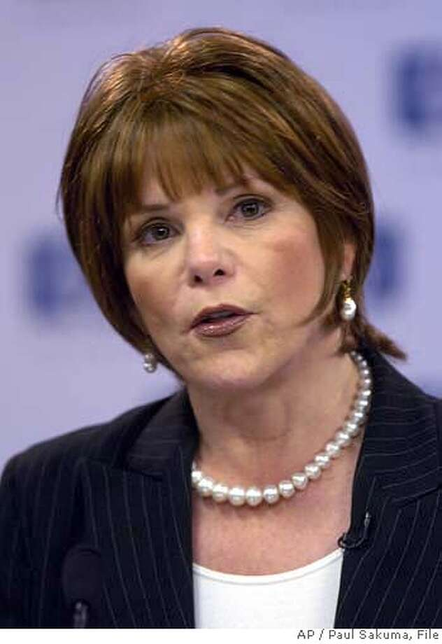 Hewlett-Packard Company's Patricia Dunn speaks during a news conference about new HP new CEO Mark Hurd at HP headquarters in Palo Alto, Calif., Wednesday, March 30, 2005. Investigators hired by Hewlett Packard Co. to plug a leak on the company's board duped phone companies to obtain the records of at least nine reporters, further convincing California authorities that the state's privacy laws were broken. (AP Photo/Paul Sakuma) Photo: PAUL SAKUMA