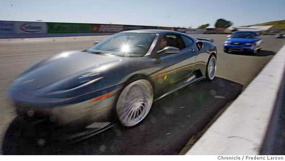 Anthony Ward 500-hp Ferrari 430 worth 265K leads the way in the one-day performance driving school instructing at Infineon Raceway, CA  5/30/06  {Frederic Larson/The Chronicle} MANDATORY CREDIT FOR PHOTOGRAPHER AND SAN FRANCISCO CHRONICLE/ -MAGS OUT Photo: Frederic Larson
