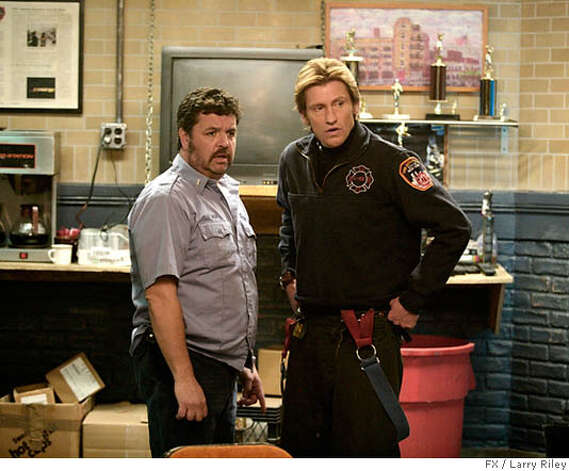 John Scurti & Denis Leary in the third season of Rescue Me. Photo Credit: Larry Riley/FX  Ran on: 05-29-2006  John Scurti (left) and Denis Leary are firefighters who give their fellow crew members a hard time on FX's drama &quo;Rescue Me.&quo; Photo: FX