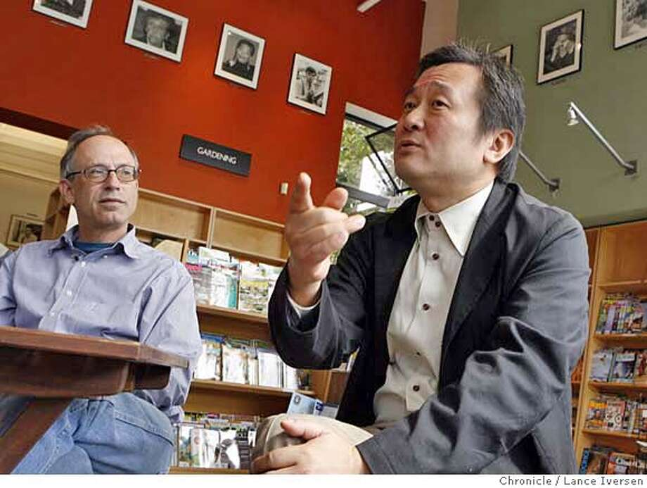 CODYS080445.JPG  Cody's Book Store, a long time fixture in Berkeley has been sold to a internationally famous Japanese bookstore owner Hiroshi Kagawa. Cody's former owner Andy Ross (left) sits down with Kagawa seated right inside Cody's to talk with the media. SEPTEMBER 7, 2006 in BERKELEY.  By Lance Iversen/San Francisco Chronicle MANDATORY CREDIT PHOTOG AND SAN FRANCISCO CHRONICLE/ MAGS OUT Photo: By Lance Iversen