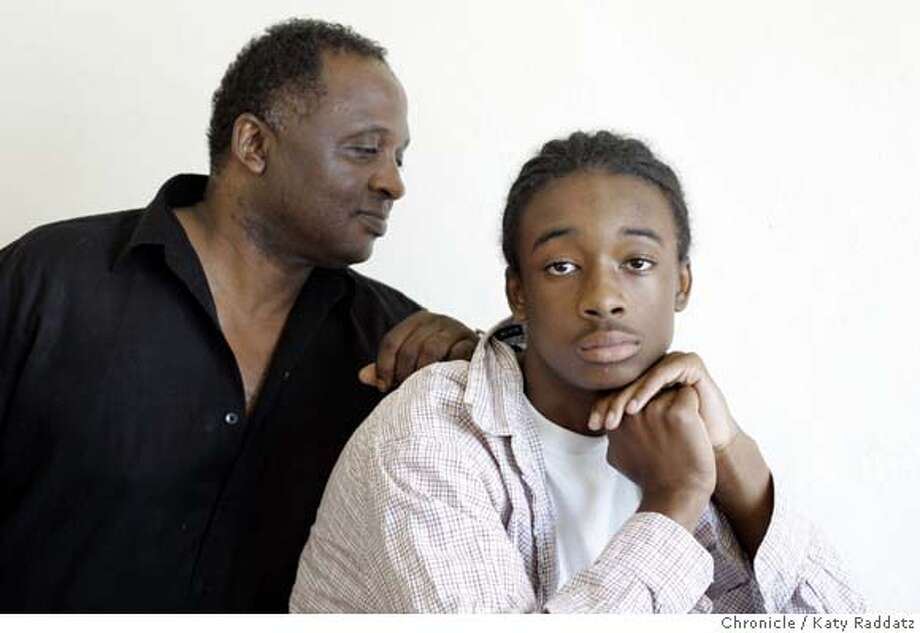 911KIDSc_025_RAD.jpg  SHOWN: L: Bradford Simpson, left, with son Marcus Simpson, age 14, of Oakland, CA. Story is about how the events of Sept. 11, 2001 affected the lives of kids. These photos shot on Thursday, Aug. 24, 2006, in Oakland, CA.  (Katy Raddatz/The S.F.Chronicle)  **Marcus Simpson, Bradford Simpson Mandatory credit for photographer and the San Francisco Chronicle/ -Mags out Photo: Katy Raddatz
