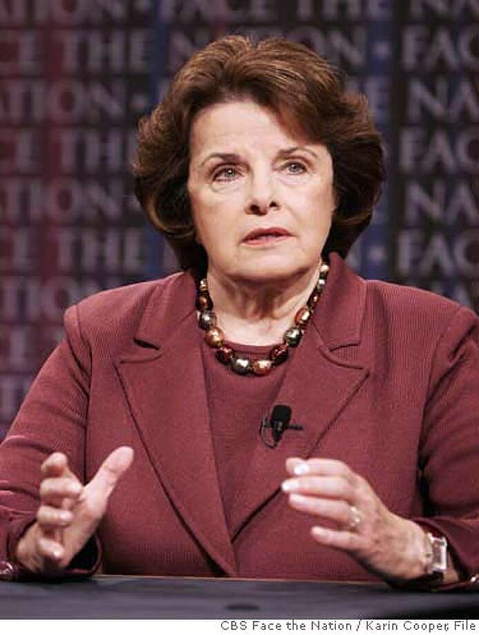 "In this photo provided by CBS, Sen. Feinstein, D-Calif., appears on CBS's ""Face the Nation"" in Washington Sunday, May 21, 2006. (AP Photo/CBS Face the Nation, Karin Cooper) ** MANDATORY CREDIT: FACE THE NATION, KARIN COOPER NO ARCHIVE **  Ran on: 05-23-2006  Sen. Dianne Feinstein called the Senate bill &quo;100 percent calculated to fail.&quo;  Ran on: 06-20-2006  Dianne Feinstein MANDATORY CREDIT: FACE THE NATION, KARIN COOPER NO ARCHIVE, Photo: KARIN COOPER"