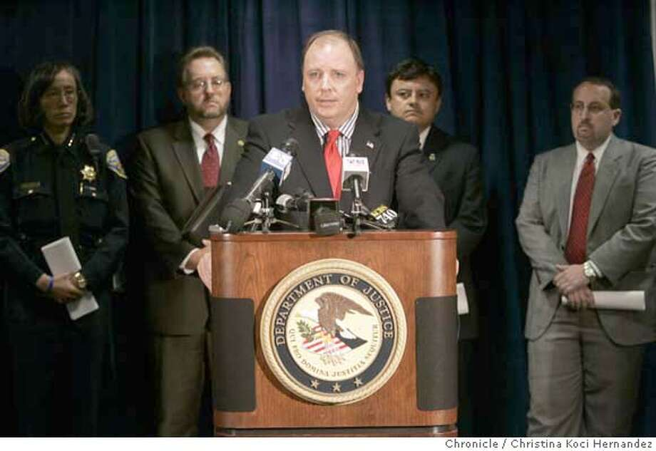 CHRISTINA KOCI HERNANDEZ/CHRONICLE At podium, U.S. attorney, Kevin Ryan.NOON NEWS CONFERENCE REGARDING SEARCHES AND ARRESTS AT SAN FRANCISCO MASSAGE PARLORS.  U.S. ATTORNEY�S OFFICE, Photo: CHRISTINA KOCI HERNANDEZ