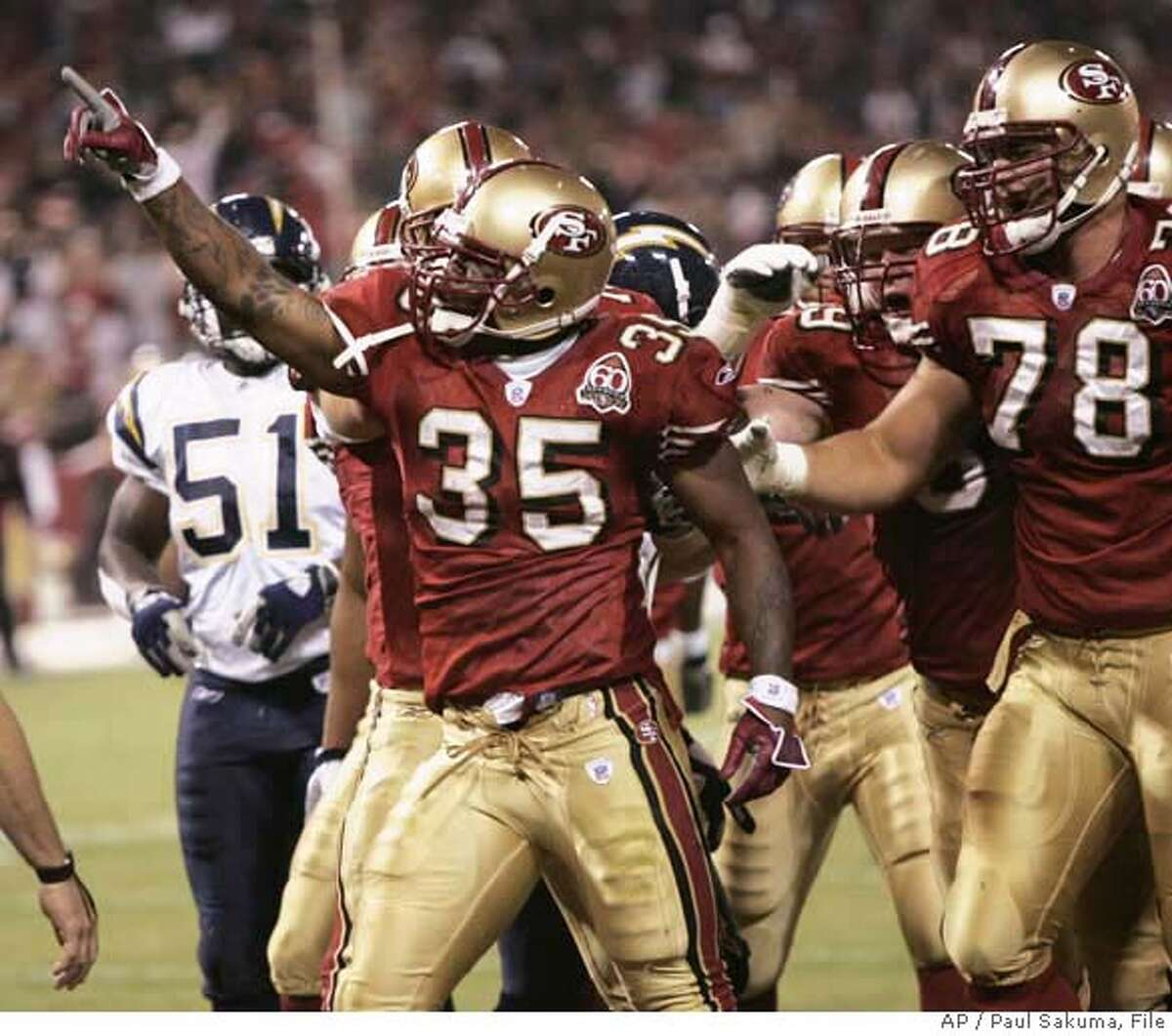 San Francisco 49ers running back Michael Robinson (35) celebrates after scoring against the San Diego Chargers in the second quarter of an NFL preseason football game in San Francisco, Friday, Sept. 1, 2006. (AP Photo/Paul Sakuma) EFE OUT