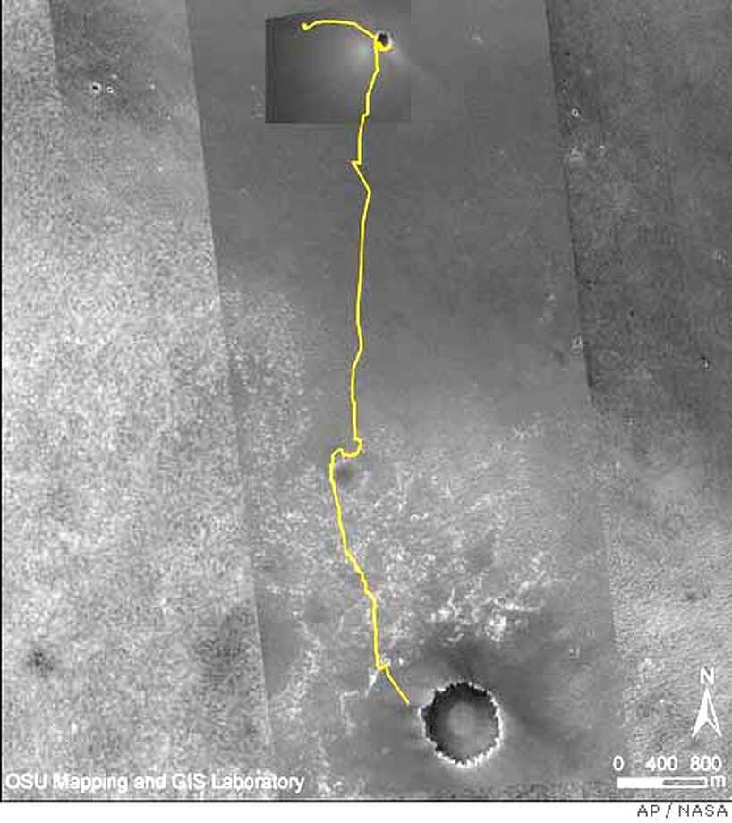 """This image provided by NASA Wednesday Sept. 6, 2006 shows the path of the Mars rover Opportunity as it nears the Martian crater Victoria. Victoria is the large crater near the bottom of this map. The gold line traces Opportunity's path eastward then southward from """"Eagle Crater,"""" where it landed, to Endurance Crater, where it spent six months, and nearly to Victoria. The south end of the line indicates Opportunity's location as of the rover's 930th Martian day, or sol, (Sept. 5, 2006). (AP Photo/NASA/JPL/MSSS/Ohio State University) Photo: NASA"""