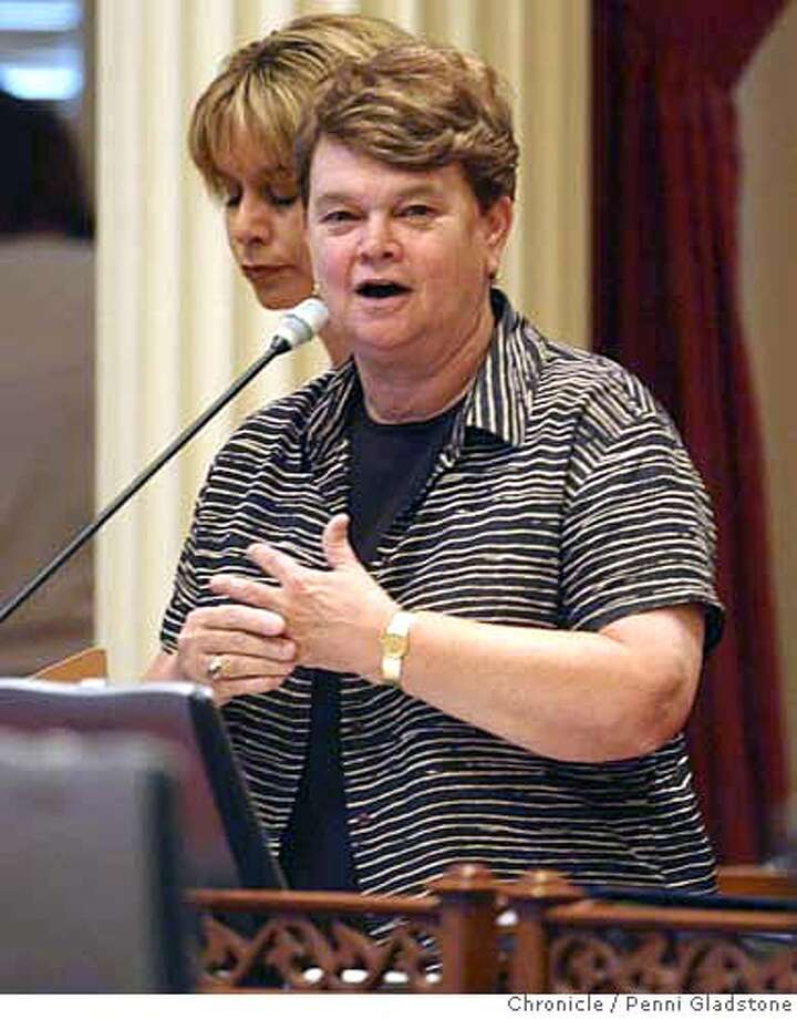 SENATE_035_pg.jpg WHO WIL SUCCEED JOHN BURTON as senate pres. pro tem. LA Senator Shelia Kuehl.  8/10/04 in Sacramento.  Penni Gladstone / The ChronicleRan on: 04-16-2006  Sen. Sheila Kuehl of Santa Monica sponsored the bill to change state public school textbooks.Ran on: 04-16-2006  Sen. Sheila Kuehl of Santa Monica sponsored the bill to change state public school textbooks. MANDATORY CREDIT FOR PHOTOG AND SF CHRONICLE/ -MAGS OUT Photo: Penni Gladstone