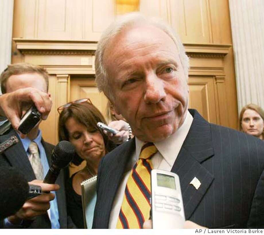 Sen. Joseph Lieberman, D-Conn., meets with reporters on Capitol Hill in Washington, Wednesday, Sept. 6, 2006 after attending the Democratic weekly policy luncheon. (AP Photo/Lauren Victoria Burke) Photo: LAUREN VICTORIA BURKE