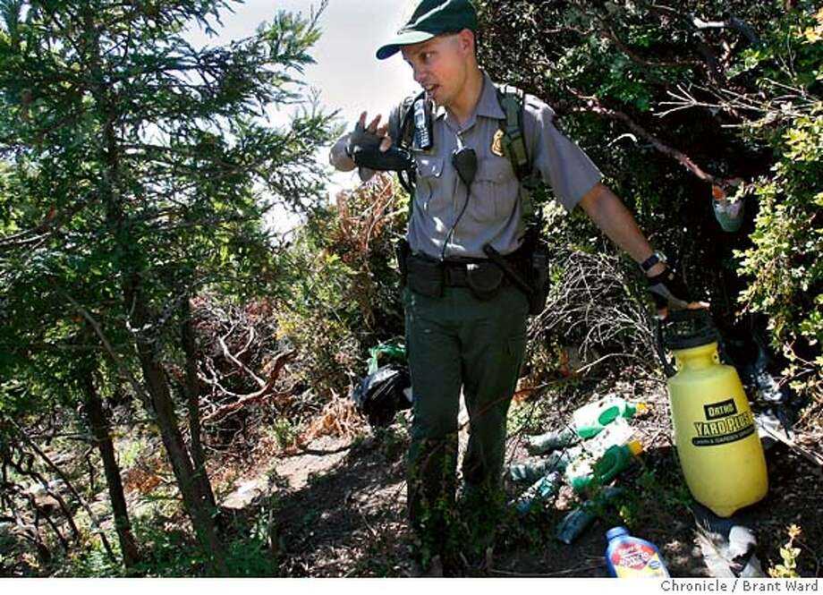 potfarms026.jpg  National Park Service ranger Rene Buehl, who was in on the raid of the Copper Mine gulch pot raid, revisits the scene and shows off some of the fertilizers used to speed growth of the marijuana.  A series of sophisticated pot farms were raided just east of highway 1 near Bolinas recently. Federal and local authorities discovered water piping, fertilizer, and campsites along with the marijuana, but did not catch the growers.  {Brant Ward/The Chronicle} 9/5/06 MANDATORY CREDIT FOR PHOTOGRAPHER AND SAN FRANCISCO CHRONICLE/ -MAGS OUT Photo: Brant Ward