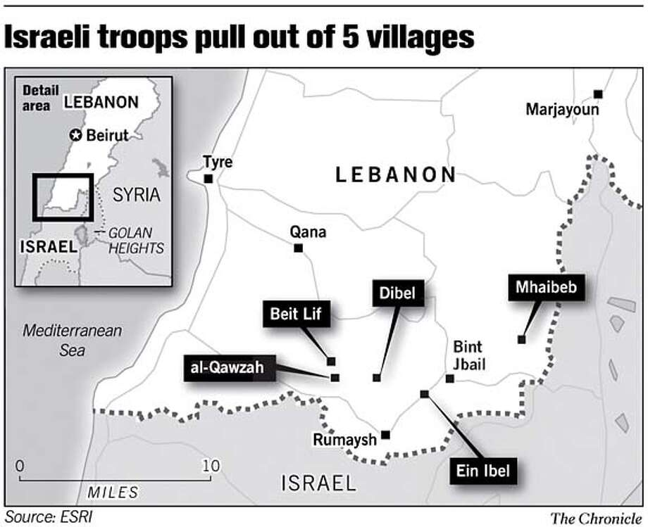 Israeli troops pull out of 5 villages.  Chronicle Graphic