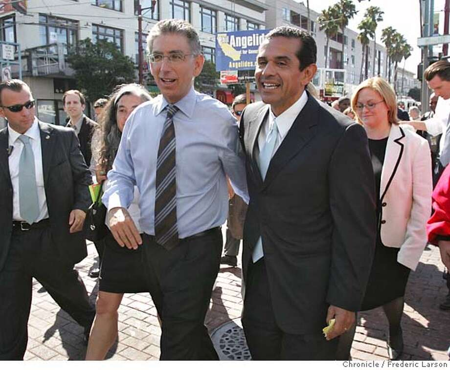 LA Mayor Antonio Villaraigosa joined Phil Angelides with other Mayor throughout the Bay Area, to officially endorse him for governo at the BART station, 16th & Mission which was designed to highlight Latino support for the Democrats.  9/5/06  {Frederic Larson/The Chronicle } Photo: Frederic Larson
