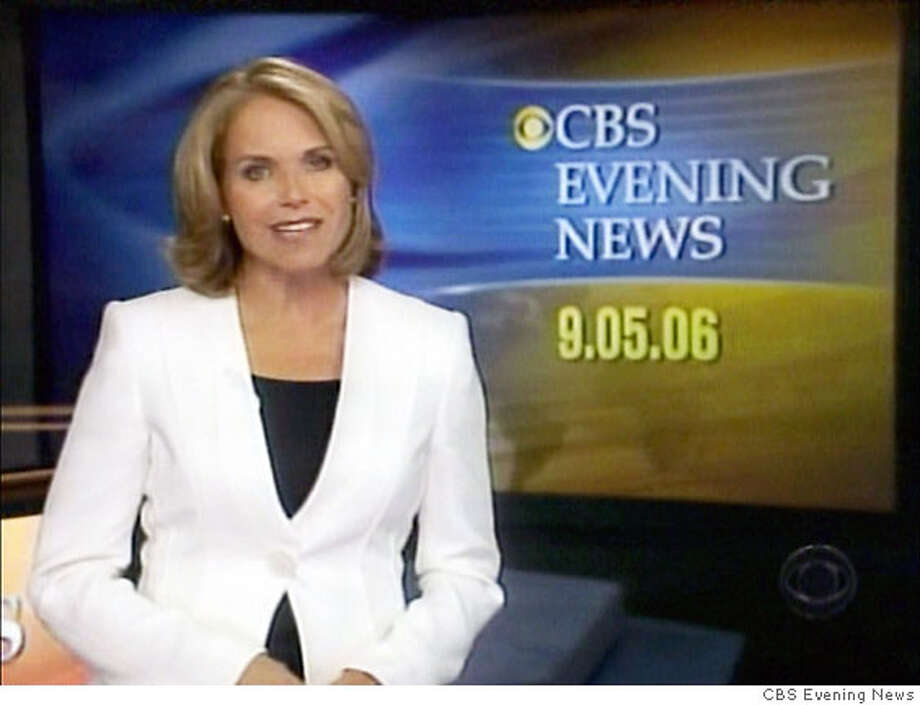 "Television footage shows Katie Couric debuting as ""CBS Evening News"" anchor in New York, September 5, 2006. After 15 years as co-host of NBC's ""Today"" show, Couric is filling the evening news chair vacated by Dan Rather and once occupied by Walter Cronkite, two of the best-known figures in U.S. television news. FOR ONE TIME EDITORIAL USE ONLY NO ARCHIVE NORTH AMERICAN USE ONLY MANDATORY CREDIT REUTERS/CBS Evening News/Handout (UNITED STATES) Photo: HO"