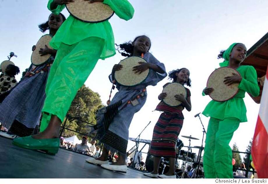 ethiopia_157_ls.jpg The Mesgana Dancers perform at the Ethiopian Day Festival on Sunday, September 3, 2006.  Photo by Lea Suzuki/The San Francisco Chronicle  Photo taken on 9/3/06, in Oakland, CA. **(themselves) cq. MANDATORY CREDIT FOR PHOTOG AND SAN FRANCISCO CHRONICLE/ -MAGS OUT Photo: Lea Suzuki