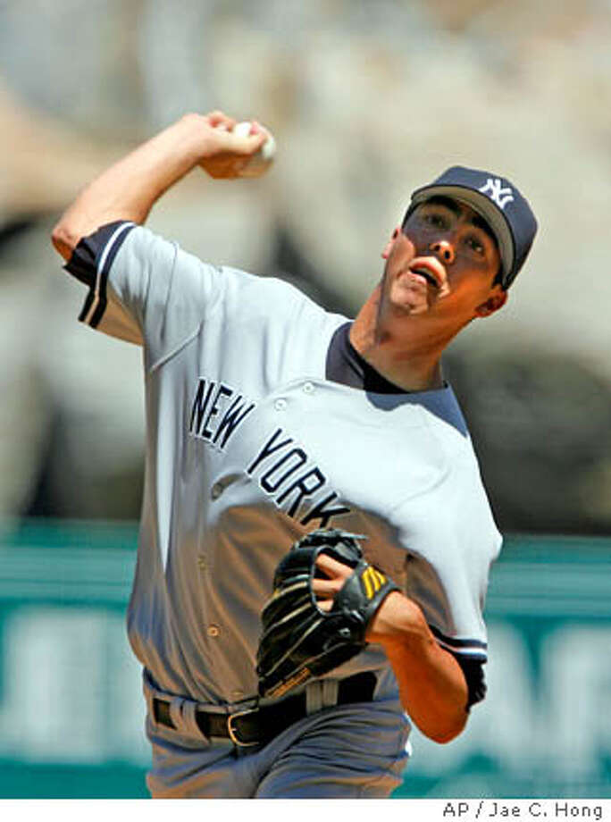 New York Yankees starting pitcher Jeff Karstens throws to the Los Angeles Angels during the first inning of a baseball game in Anaheim, Calif., Sunday, Aug. 27, 2006. (AP Photo/Jae C. Hong) Photo: JAE C. HONG