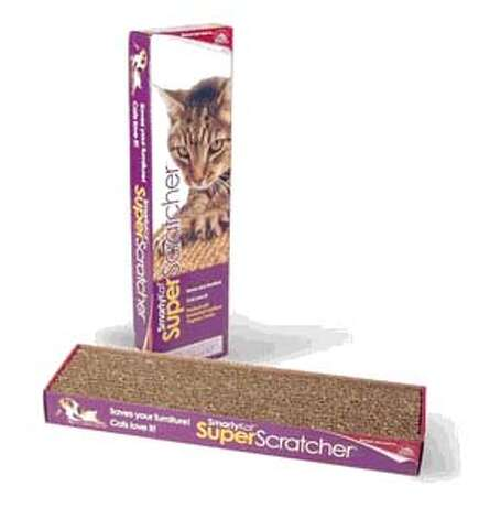 The SuperScratcher from WorldWise.com , made from recycled  materials, is degradable and recyclable, and even comes with organic catnip.