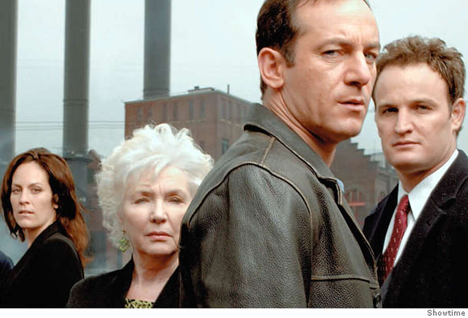 "Annabeth Gish (from left) as Eileen Caffee, Fionnula Flanagan as Rose Caffee, Jason Isaacs as Michael Caffee and Jason Clarke as Tommy Caffee in ""Brotherhood."" Photo courtesy of Showtime"