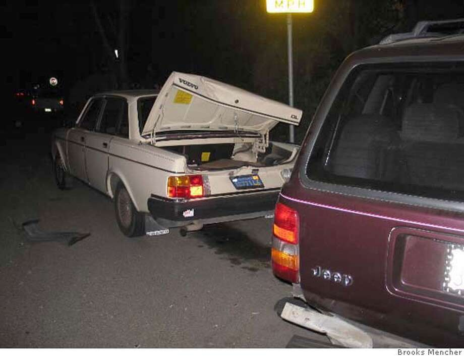 VOLVOA1: A hit-and-run in early June left the Volvo 240 and Cherokee Laredo totaled. Both vehicles were moved about 10 feet after being rammed by what was Mencher thinks was a large truck. Photo by Brooks Mencher Photo: Brooks Mencher