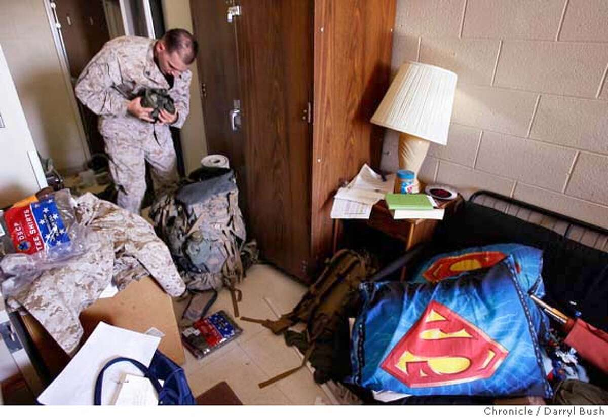 iraqXX_0010_db.JPG Sgt. Ryan Armstrong, 24, of Manchester, Iowa, who will drive humvee's in Iraq, begins packing belongings in his barracks, as as he and other Marines from the 3rd Battalion 4th Marine Regiment, prepare for their deployment to Iraq this week, at the Marine Corps Air Ground Combat Center Twentynine Palms, near Twentynine Palms, CA on Tuesday, August 29, 2006. 8/29/06 Darryl Bush / The Chronicle ** Ryan Armstrong MANDATORY CREDIT FOR PHOTOG AND SF CHRONICLE/ -MAGS OUT
