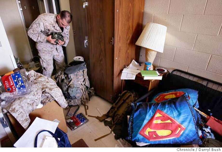iraqXX_0010_db.JPG  Sgt. Ryan Armstrong, 24, of Manchester, Iowa, who will drive humvee's in Iraq, begins packing belongings in his barracks, as as he and other Marines from the 3rd Battalion 4th Marine Regiment, prepare for their deployment to Iraq this week, at the Marine Corps Air Ground Combat Center Twentynine Palms, near Twentynine Palms, CA on Tuesday, August 29, 2006. 8/29/06  Darryl Bush / The Chronicle ** Ryan Armstrong MANDATORY CREDIT FOR PHOTOG AND SF CHRONICLE/ -MAGS OUT Photo: Darryl Bush