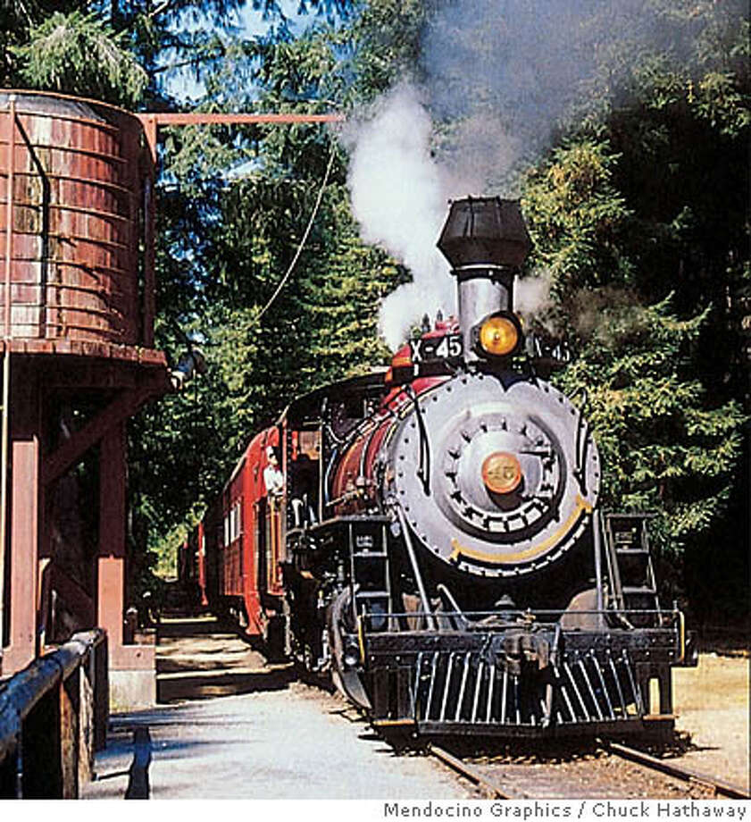 TRAVEL MENDOCINO COUNTY - The Skunk Train's Old 45 steam engine, a 1924 Baldwin, pulls the former logging train-turned-tourist attraction through the redwoods of the coastal range between Fort Bragg and Willits. A Skunk Train Steam Engine Celebration is scheduled Sept. 22-27. Photo: Tk