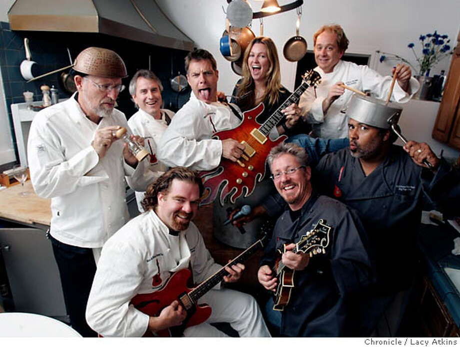 The Back Burner Blues Band, (clockwise starting front right) Scott Warner, Mark Baum, Mike Sweetland, Joey Altman, Leah Tysse, Scott Newman, Andre Chapital, and Gordon Drysdale, all chefs in the Bay area, during practice, Aug 29, 2006,in San Francisco, Ca. (Lacy Atkins/ the Chronicle) MANDATORY CREDITFOR PHOTGRAPHER AND SAN FRANCISCO CHRONICLE/ -MAGS OUT Photo: Lacy Atkins