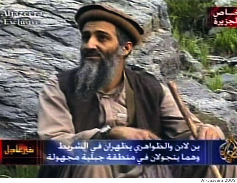 Osama bin Laden, in an image aired in 2003, is believed by many to be in Waziristan, on the border of Afghanistan and Pakistan. Al-Jazeera file photo, 2003