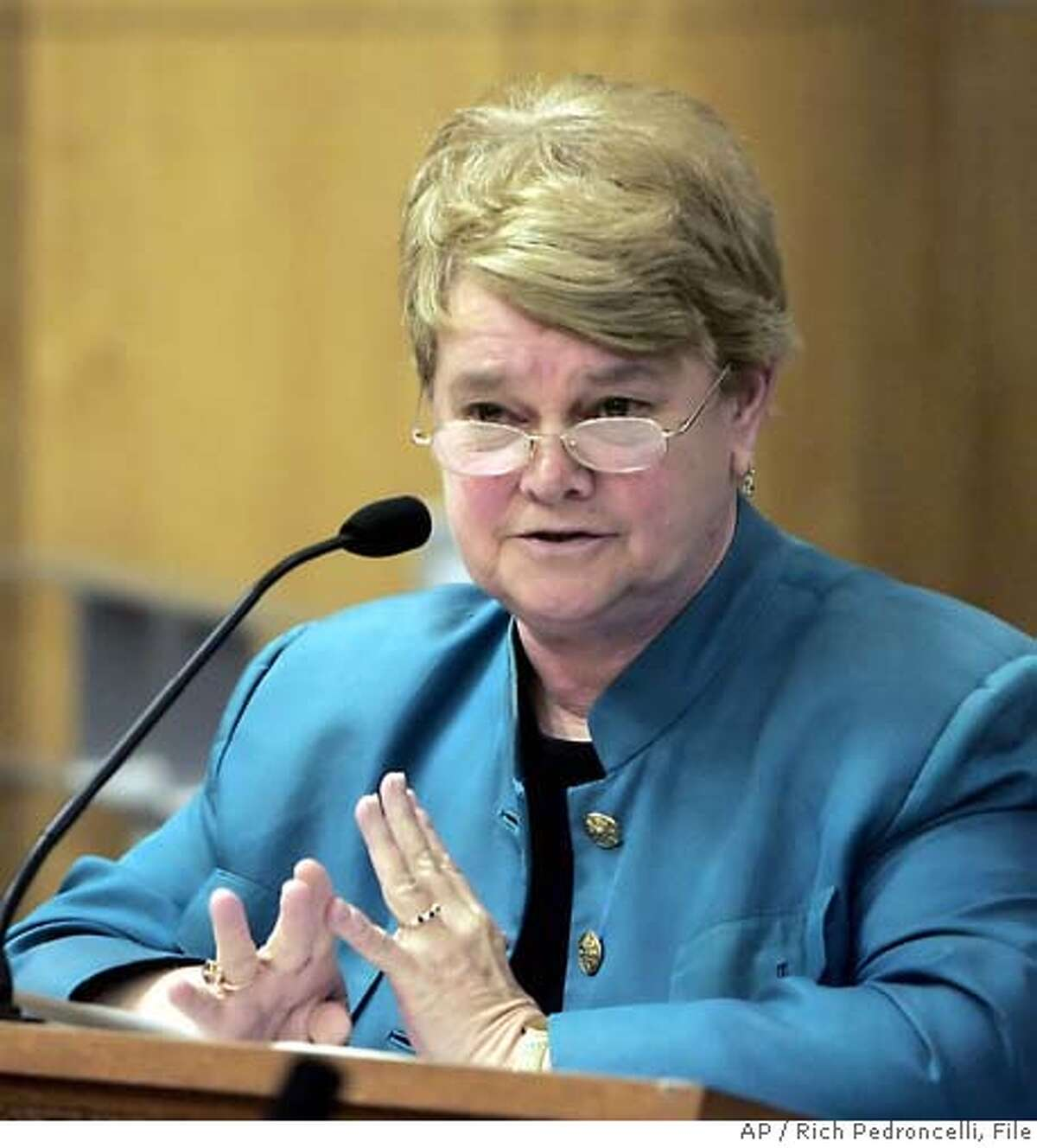 ** DELETES VOTE TOTALS ** State Sen. Sheila Kuhl, D-Santa Monica, urges members of the Senate Education Committee to approve her measure that would add sexual orientation to the list of criteria included in California textbooks, during a hearing at the Capitol in Sacramento, Calif., Wednesday, May 3, 2006. Kuehl's bill would require state textbooks and other social science materials to discuss the contributions that gays, lesbians, bisexuals and transgender people have made to the state and nation's economy, politics and society. The committee approved the bill. (AP Photo/Rich Pedroncelli) Ran on: 05-12-2006 Ran on: 05-12-2006 Ran on: 05-12-2006 Ran on: 05-12-2006 DELETES VOTE TOTALS