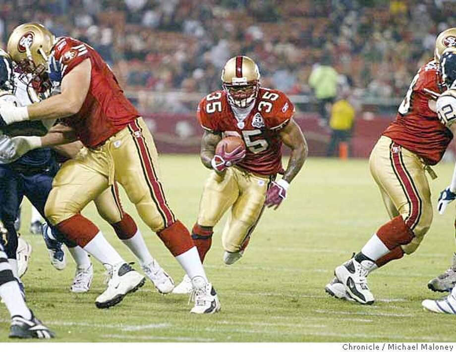 niners__010_mjm.JPG  Niner's #35 Michael Robinson runs for a TD in the 2nd quarter.  SF 49ers play the San Diego chargers at Monster Park on 9/1/2006.  Michael Maloney /The Chronicle Ran on: 09-02-2006  Michael Robinson scores one of his two touchdowns against San Diego in the second quarter Friday night. He had a 1-yarder and a 13-yarder.  Ran on: 09-02-2006 Photo: Michael Maloney