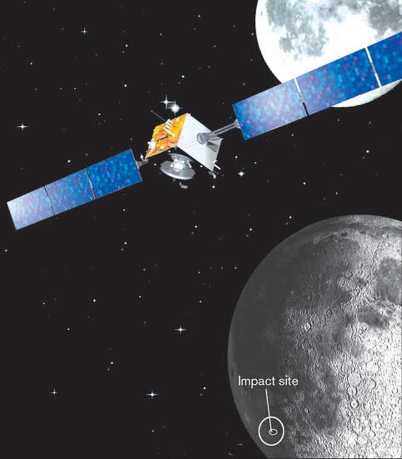 The SMART-1 spacecraft, in artist's rendering, prepares to crash-land on the moon. Photo courtesy of the European Space Agency