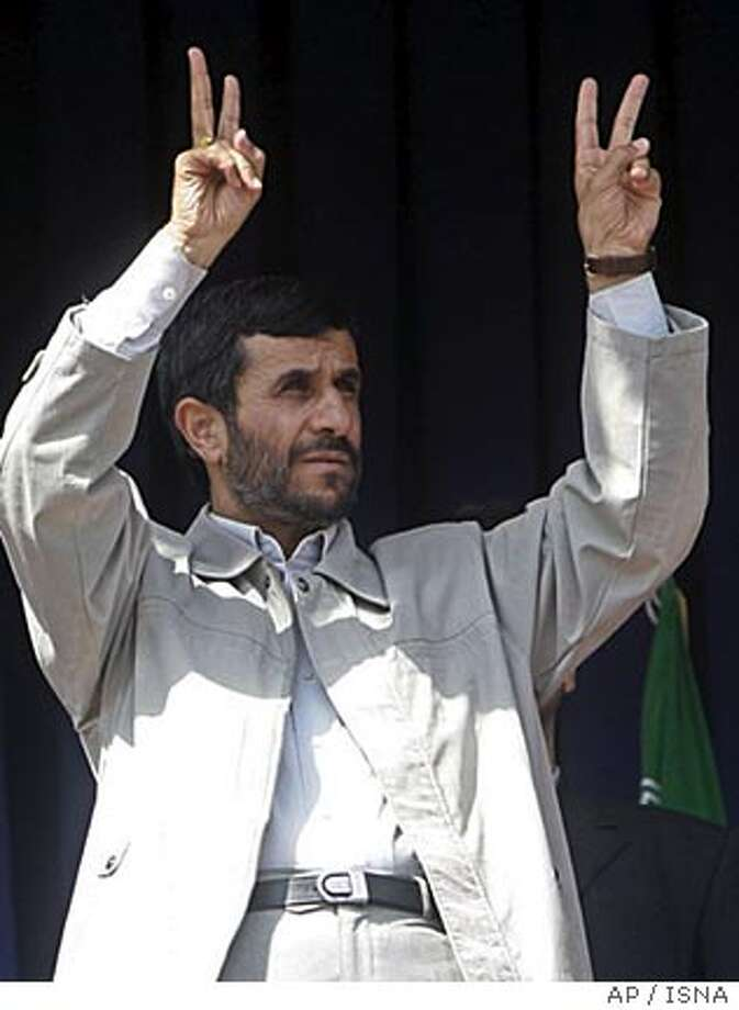 Iranian President Mahmoud Ahmadinejad, flashes the victory sign, during a public gathering at the city of Orumiyeh 540 miles (900 kilometers) northwest of the capital Tehran, Iran, Thursday, Aug. 31, 2006. Iran's president defiantly refused to compromise as a U.N. deadline for his country to stop enriching uranium arrived Thursday, saying Tehran would not be bullied into giving up its right to nuclear technology. (AP Photo/ISNA)