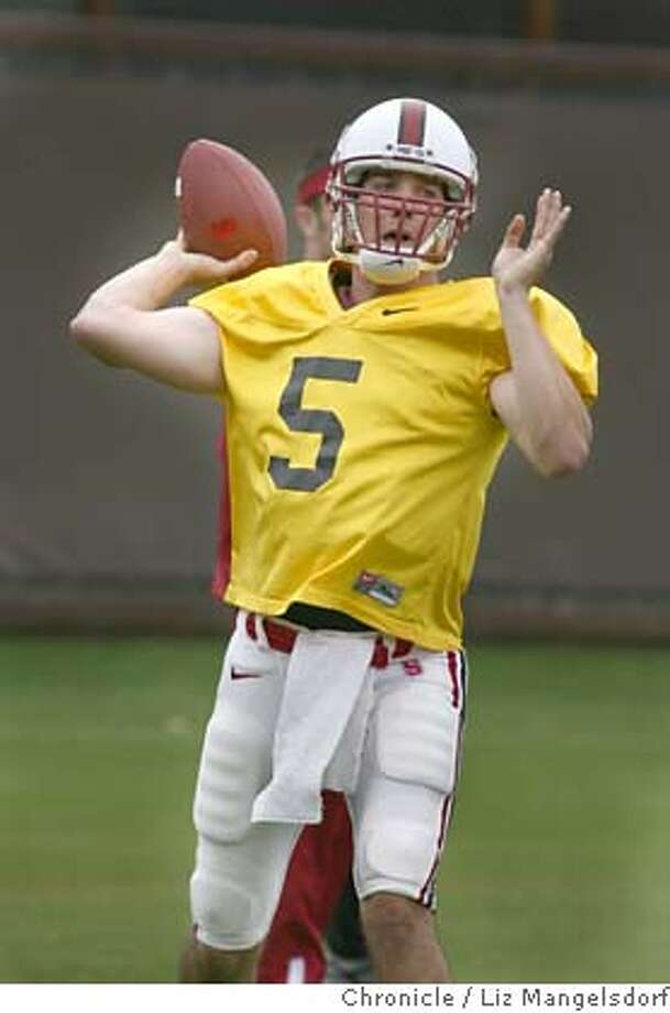 stanford26_074_lm.JPG Event on 4/26/06 in Palo Alto.  Stanford quarterback #5 Trent Edwards during practice at Stanford University practice fields.  Stanford spring football practice  Liz Mangelsdorf /San Francisco Chronicle MANDATORY CREDIT FOR PHOTOG AND SF CHRONICLE/ -MAGS OUT Photo: Liz Mangelsdorf