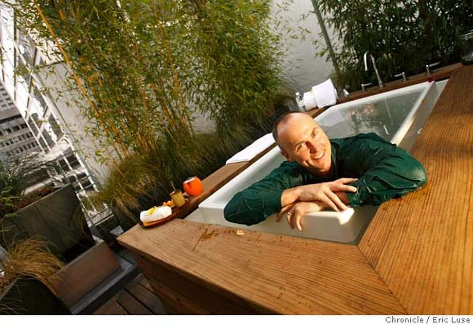 onthetown_conley_0064_el.JPG  Chip Conley is the chairman and CEO of Joie de Vivre Hospitality, which started with a Tenderloin motor lodge and built up with 28 luxury hotels. Taking a hot tub fully clothed, except for shoes,at spa vitale in the rooftop bamboo garden. He lists some of his favorite places in San Francisco for On The Town. The Style section needs one portrait of Conley in a favorite environment. Photographer will have two choices on the rooftop of Hotel Vitale--either a portrait of him in the outdoor tubs in the bamboo forest at Spa Vitale and/or doing penthouse yoga class. Meet Kanchan Achar (flack) in lobby of Hotel Vitale.  Photographer:  Eric Luse / SFChronicleRan on: 04-16-2006 MANDATORY CREDIT FOR PHOTOG AND SF CHRONICLE/ -MAGS OUT Photo: Eric Luse