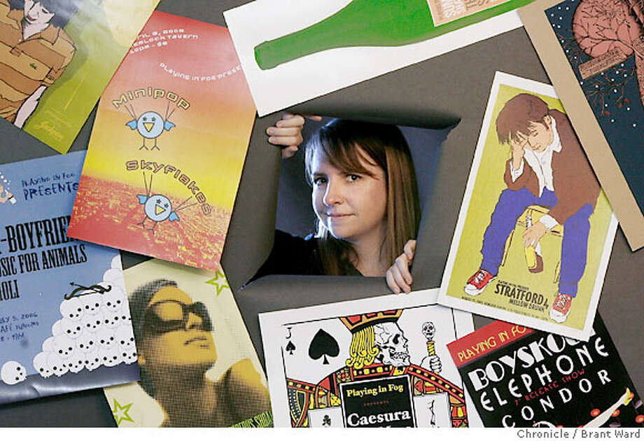 nightlife182.jpg  Debra Zeller is shown in her San Francisco studio with some of the posters designed for her shows.  Started around 1999 as a hobby by music lover Debra Zeller, Playing In Fog began as a calendar feature for the best gigs in San Francisco.  {Brant Ward/The Chronicle} 8/28/06 Photo: Brant Ward