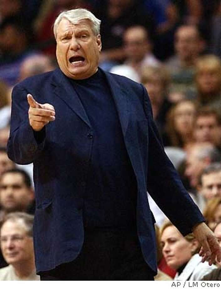 ** FILE ** Dallas Mavericks head coach Don Nelson shouts directions during the first half against the Chicago Bulls in Dallas, in this Feb. 8, 2005 file photo. The Golden State Warriors will re-hire Nelson, the second-winningest coach in NBA history and the last coach to lead the downtrodden Warriors to the playoffs after coach Mike Montgomery was dismissed by the Warriors on Tuesday, Aug. 29, 2006. (AP Photo/LM Otero) FEB. 8, 2005 FILE PHOTO Photo: LM OTERO