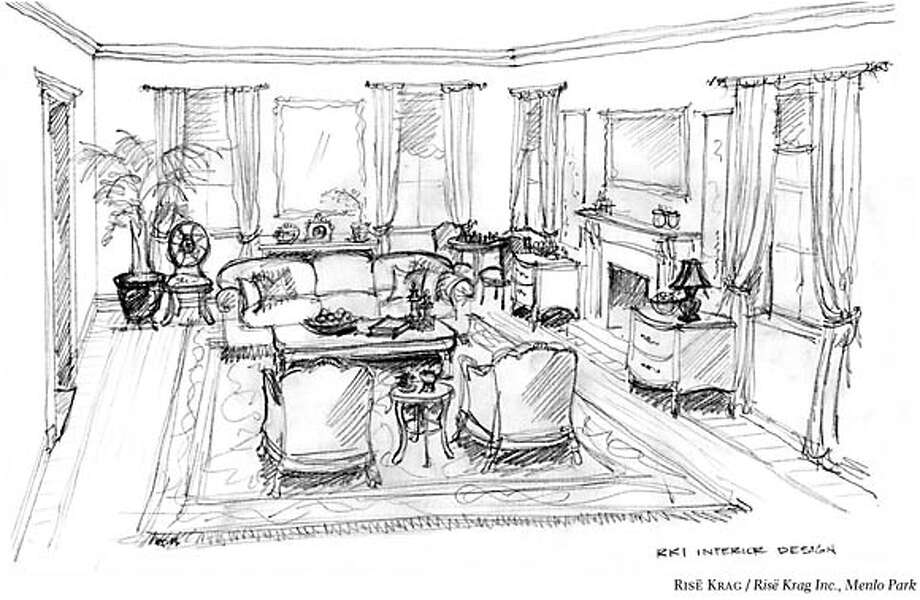 This design highlights the fireplace and facilitates conversation. Illustration by Ris� Krag